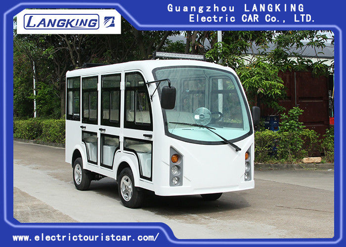 5KW Enclosed Passenger Cabin Electric Tourist Buggy 8 Seats White Color